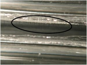 Cracks shown in a weld joint
