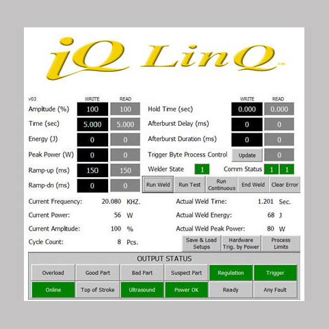 iQ LinQ proprietary communication protocol for automation ready ultrasonic welding